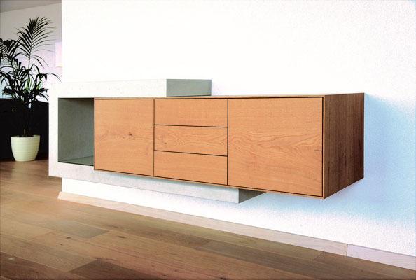 Design11, design 11, Sideboard aus Beton und Holz, Betonmöbel aus der Schweiz, Wand, an Wand montiert