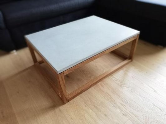 Betonmöbel Online bestellen, beton Möbel Salontisch 1.11, aus echtem Beton und massivem Eichenholz, Betonmöbel, Couchtisch aus Beton, Beton Möbel, Möbel aus Beton