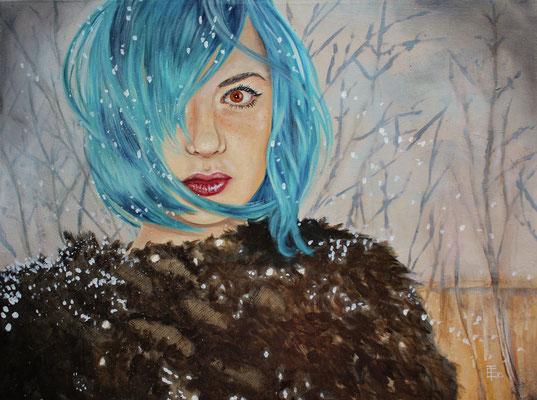 "*Winter Mermaid* Oil on Canvas - 18"" x 24"" - 460$"