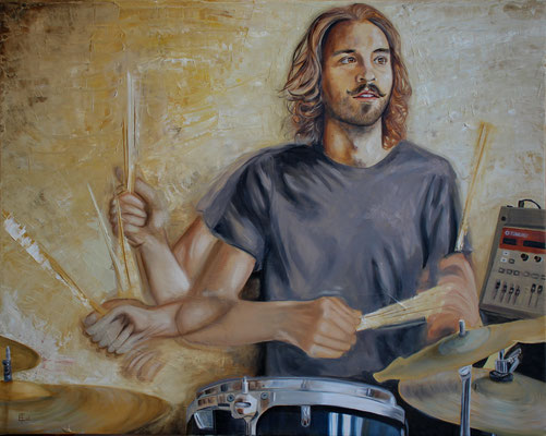 """""""The Drummer"""" Oil on Canvas - 24"""" x 30"""" - 560$"""