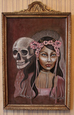 "L'Amor(e) 2012 Oil on wood panel, antique frame, 12"" x 18"" SOLD"