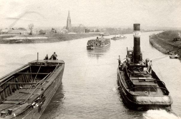Olfener Hafen: Dampfer schleppten die Kähne