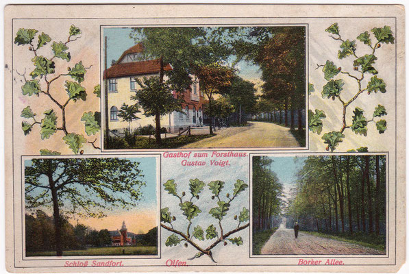 1914 - Postkarte mit Gasthof zum Forsthaus, Schloss Sandfort und der Borker Allee