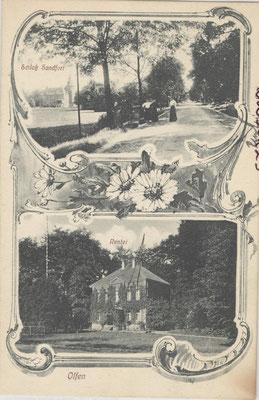 Postkarte mit Ansicht von Schloss und Rentei