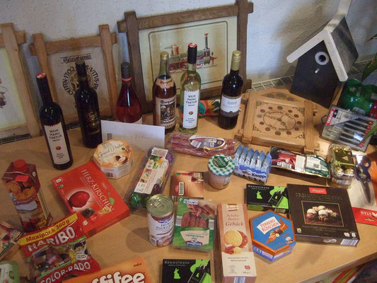 Der Tisch mit den Preisen