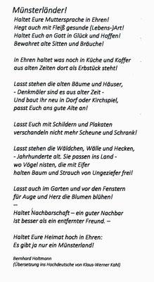 Übersetzung ins Hochdeutsche von Klaus-Werner Kahl (Hörstel)