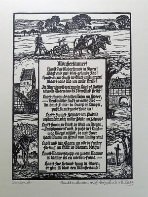 Sinnspruch - Handdruck von orig. Holzschnitt von H. Everz