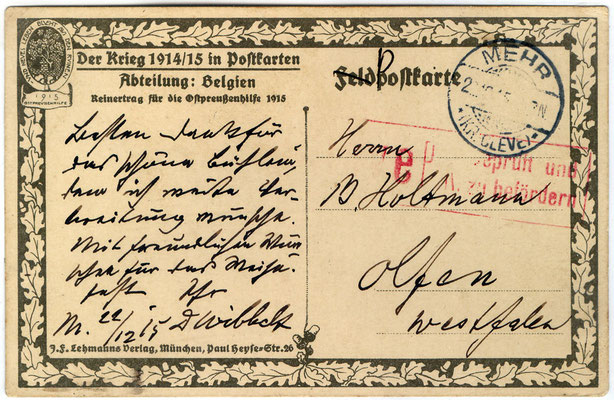 Postkarte von Dr. Wibbelt v. 22.12.15
