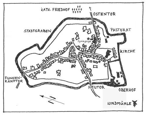 Stadtplan von Olfen um 1820
