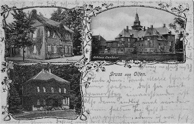 1920 - Postkarte mit Forsthaus, Schloss Sandfort und Rentei
