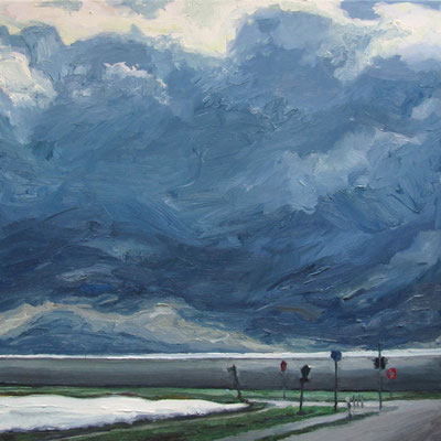 """Spargelfeld Marienbergstr"", Öl auf Leinwand, 70 x 70 cm, 2016"