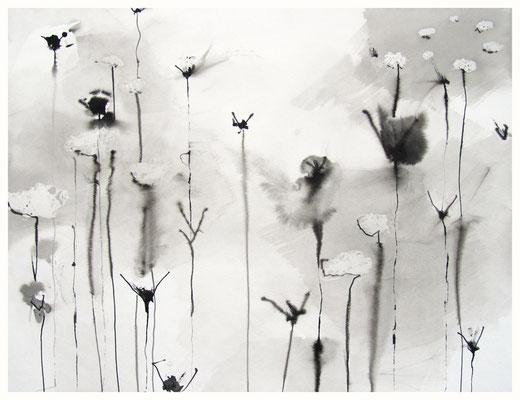 """""""Zeichnung Wiesenstück 2"""", Tusche auf Papier, 65 x 50 cm, 2015"""