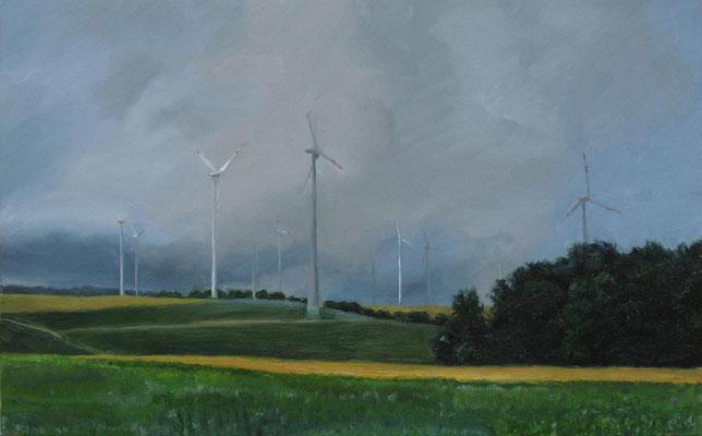 """""""Windräder bei Degersheim """", Öl auf Leinwand, 105 x 65cm, 2020"""
