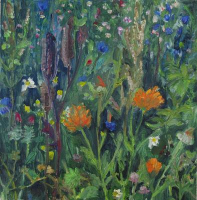 """""""Blumenwiesenstück"""", Öl auf Karton, 40 x 40 cm, 2020"""