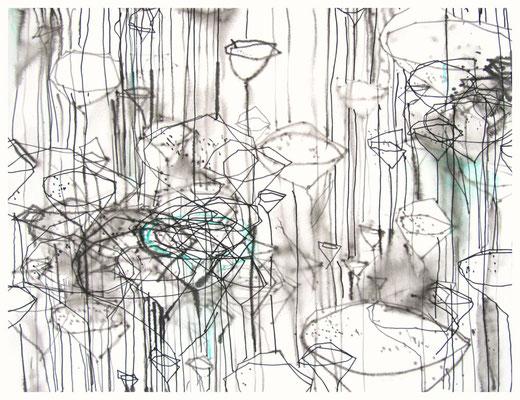 """""""Zeichnung Wiesenstück 5"""", Tusche auf Papier, 65 x 50 cm, 2015"""