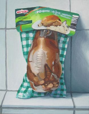 """""""Schweinshaxe, 3,79 €"""" , Öl auf Leinwand, 60 x 75 cm, 2016"""