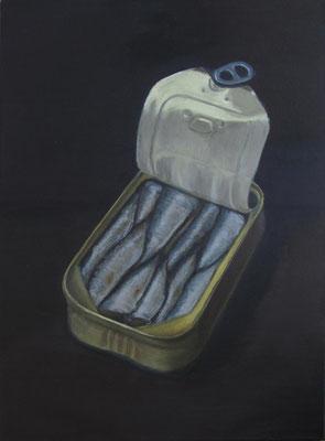 """Sardinendose 3"", Öl auf Leinwand, 48 x 65 cm, 2020"