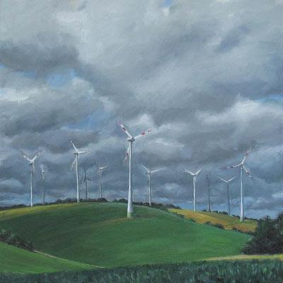 """""""Windräder bei Degersheim 2"""", Öl auf Leinwand, 80 x 80cm, 2020"""