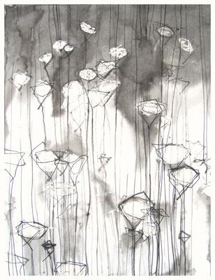 """""""Zeichnung Wiesenstück 4"""", Tusche auf Papier, 65 x 50 cm, 2015"""