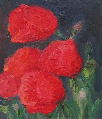 """""""4 Mohnblüten"""", Öl auf Karton, 17 x 20 cm, 2020"""