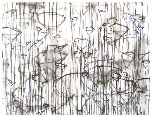 """""""Zeichnung Wiesenstück 6"""", Tusche auf Papier, 65 x 50 cm, 2015"""