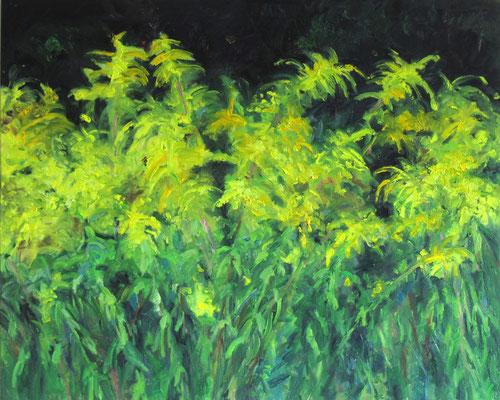"""Kanadische Goldrute 2"", Öl auf Leinwand, 100 x 80 cm, 2021"