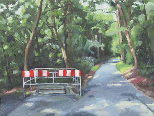 """Radweg Friedhof"", Öl auf Leinwand, 60 x 45 cm, 2007"