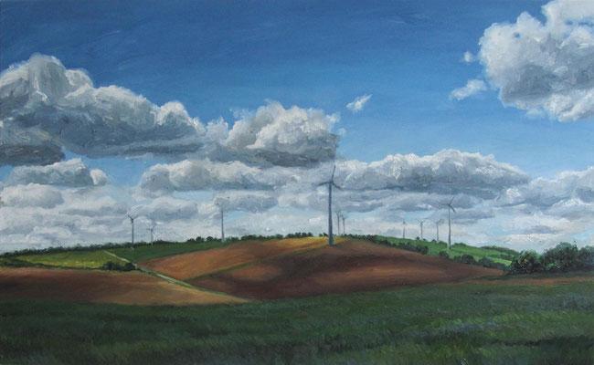 """""""Windräder bei Degersheim 1"""", Öl auf Leinwand, 130 x 80cm, 2020"""