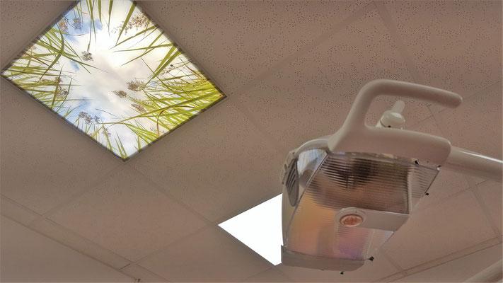 Eine bedruckte Deckenplatte für Rasterdecken, als Zahnarzt Deckenbild, unter einem LED Panel.