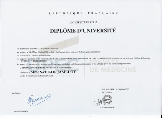 DIPLOME UNIVERSITAIRE  EN NUTRITION THERAPEUTIQUE ET VIEILLISSEMENTFACULTE DE MEDECINE PARIS DESCARTES