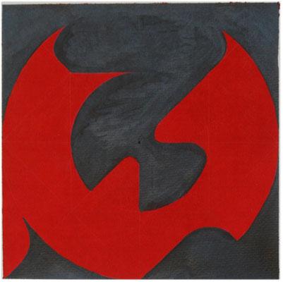 [Tangential kurven figur Red -Black 2015]  ERNEST A KIENZL 20×20cm 墨汁 紙