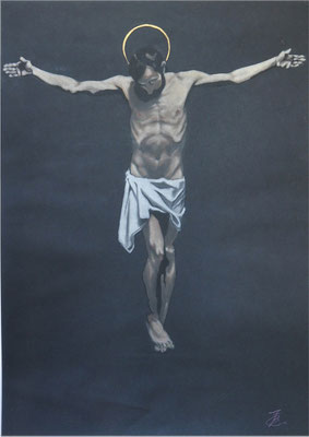 [Sospeso nell'infinito] FRANCESCO BATTAGLINI    縦70×50cm パステル 黒紙