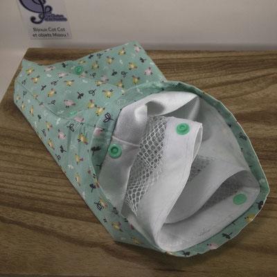 Sac à masques: le filet de lavage est maintenu au sachet grâce aux boutons pression. Elles servent ensuite à fermer le filet - Le Chaton et sa Poulette