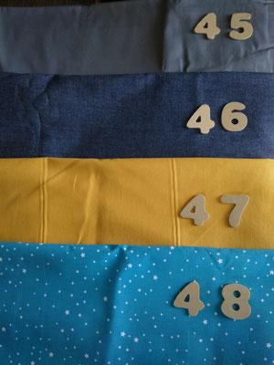 Tissus 45 gris, 46 bleu jean's, 47 ambre jaune, 48