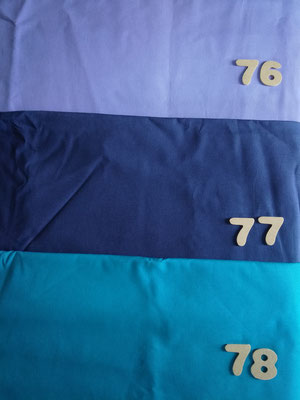 Tissus 76 lavande, 77 bleu marine, 78 bleu cobalt
