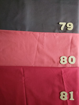 Tissus 79 chocolat, 80 corail, 81 rouge cardinal