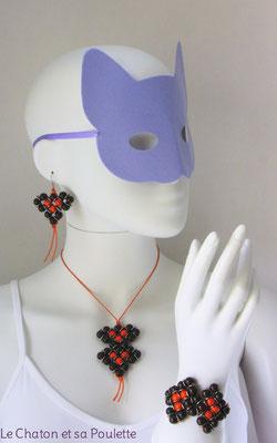 Parure Envol 1001 -  boucles d'oreille Envol 6, collier Envol 4 et bracelet Envol 5 - Le Chaton et sa Poulette