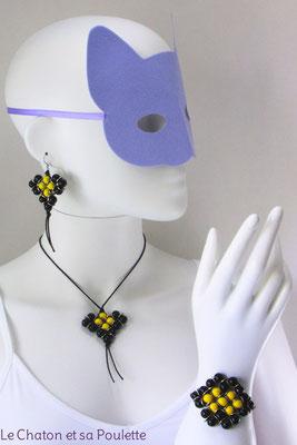 Parure Envol 1005 -  boucles d'oreille Envol 18, collier Envol 16 et bracelet Envol 17 - Le Chaton et sa Poulette