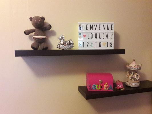 Coffret souvenirs de naissance dans la chambre de  LOULEA née le 12 Octobre 2018 - Le Chaton et sa Poulette
