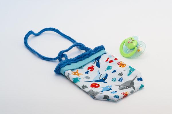 Sac range tétine thème Dans la mer avec anses crochetés bleues