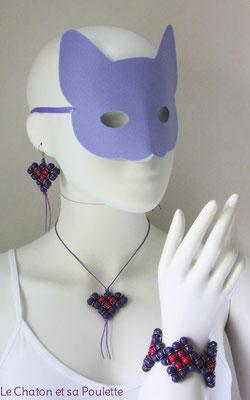 Parure Envol 1003 -  boucles d'oreille Envol 12, collier Envol 10 et bracelet Envol 11 - Le Chaton et sa Poulette