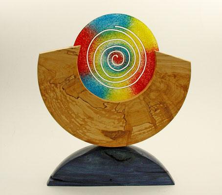 """Skulptur """"Sunrise"""" - Birkenmaser, geölt, B = 35 cm, H = 42 cm, Stärke = 5 cm, Blattgold 24 Karat / Preis: 600,00 €"""
