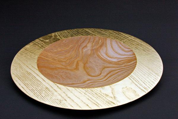 "Teller ""Sonnengruß"", Esche, 40 x 4 cm, geölt, Blattgoldauflage 22 Karat"