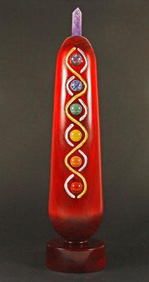 """Skulptur """"Lebensbaum"""" - Pappel, Linien versilbert und vergoldet, Mineralien, rot gebeizt; 10 x 45 cm /  (unverkäuflich)"""