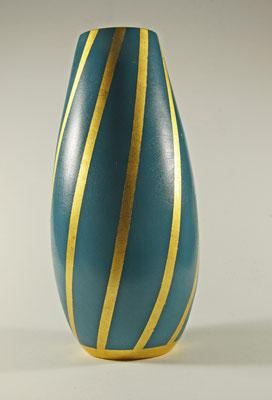 """Edel-Vase """"Hathor"""" - Birke / h = 24,5 cm / Ǿ = 11 cm / Oberfläche: - Spiritusbeize, Mischung aus Royal blue, Blue, Weiß = Türkis / - Blattgold 24 Karat / Preis: 900,-- €"""