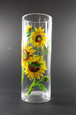 "Glasvase ""Sonnenblumen"", 15 x 41 cm / Preis: 400,00 €"