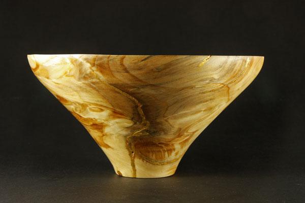 """Schale """"CISA""""  - Kiefernmaser /  : h = 11,5 cm / Ǿ = 23,5 cm / Ǿ Fuß = 5,5 cm / Wandstärke = 2,5 cm / Goldauftrag Risse: Blattgold 24 Karat (Turmgold Drei Kronengold) / Preis: 550,00 €"""