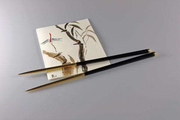 Japanische Essstäbchen - Mahagoni / 24 cm / Oberfläche: Urushi-Lack schwarz - Blattgold 24 Karat - Urushi-Lack transparent / unverkäuflich