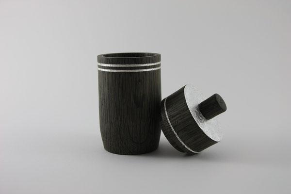 Dose: Mooreiche, 18 x 8 cm, Einlassungen: Blattsilber