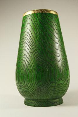 """Edel-Vase """"Der Grüne Mann"""" - Eiche / h = 22 cm / Ǿ = 12 cm / Oberfläche: - Spiritusbeize Grün / - Zierrand: Blattgold 24 Karat / Preis: 600,00 €"""
